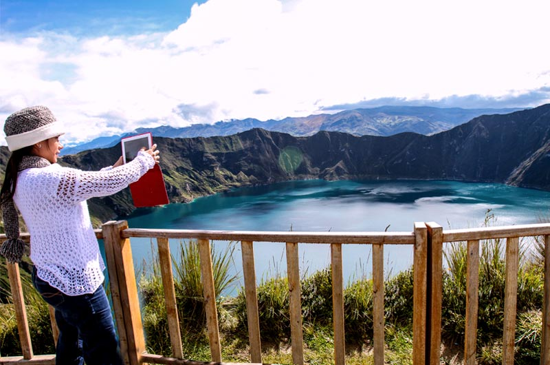 Quilotoa lagoon in the Andes top view