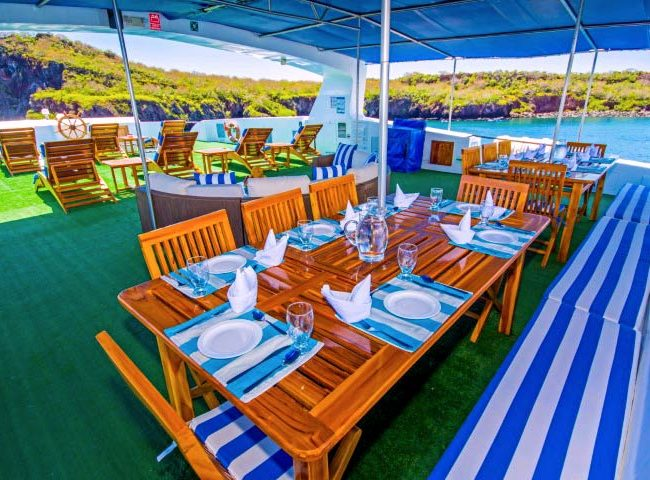Al fresco dining room in Archipell II cruise in Galapagos
