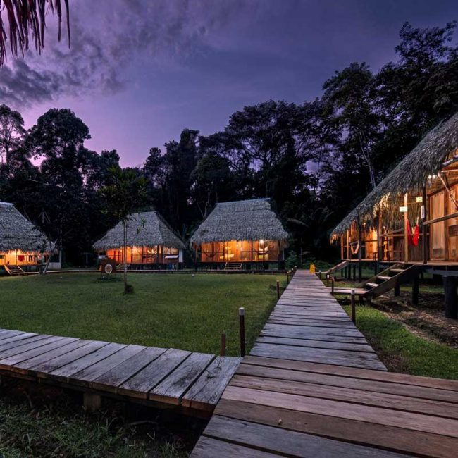 Nicky Lodge Cuyabeno at night responsible travel 2019