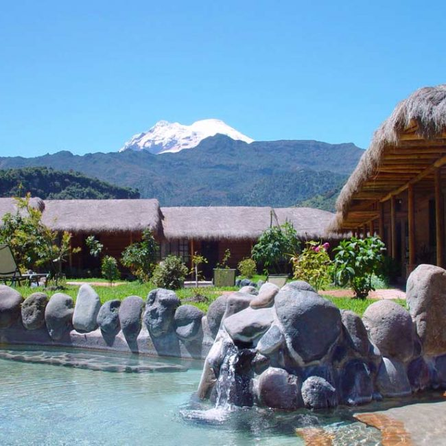 Papallacta hot springs with volcano