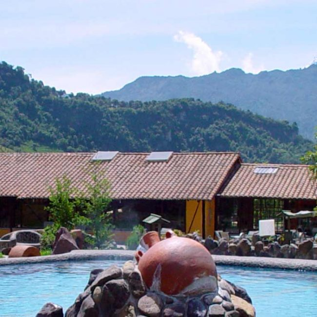 Papallacta hot springs panoramic view of pool