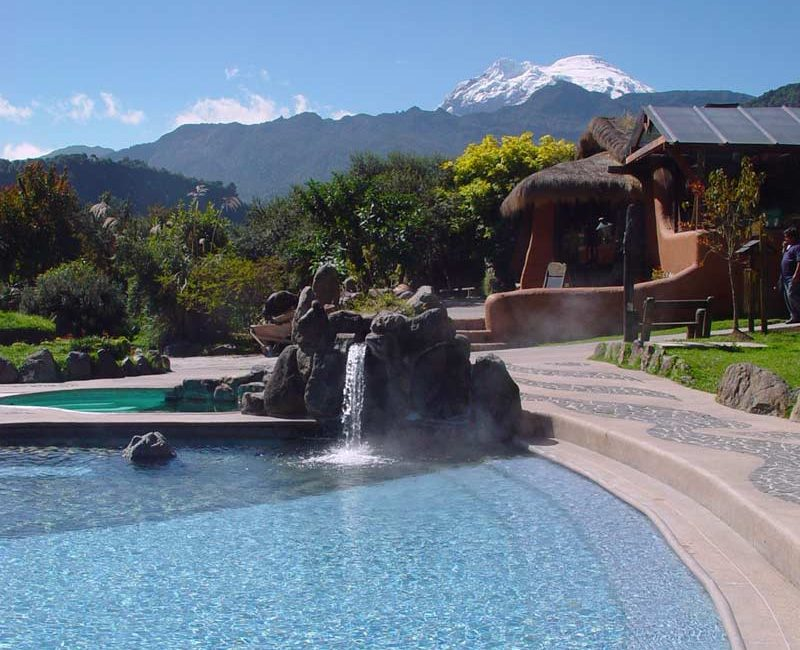 Papallacta hot springs thermal pool in the Andes