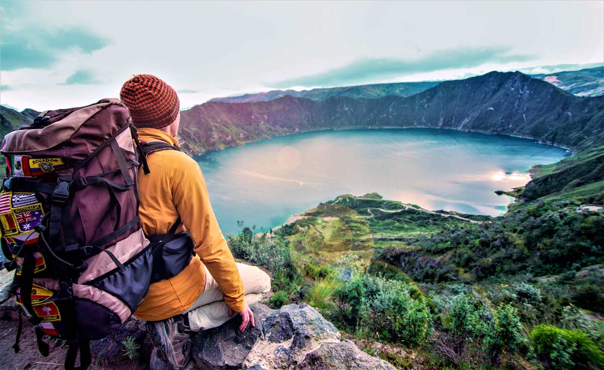 Adventure and hiking tourism in quilotoa lagoon