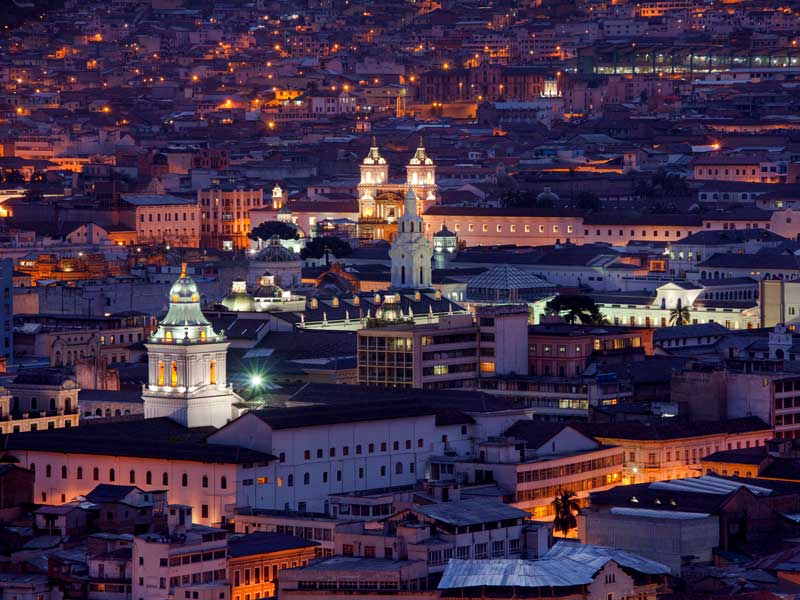 Barroco churches of Quito at night