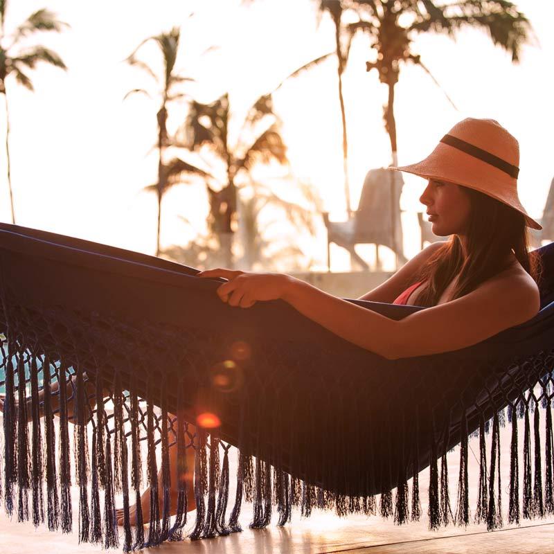 Woman in hammock at the beach ecuador 2019