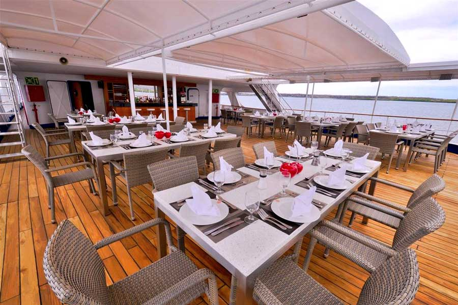 Al fresco dining room in celebrity experience cruise galapagos