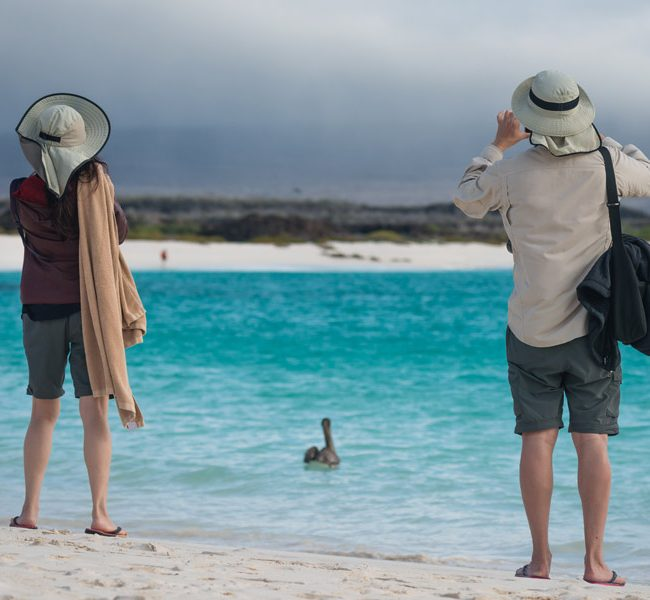 Tourist in galapagos taking pictures