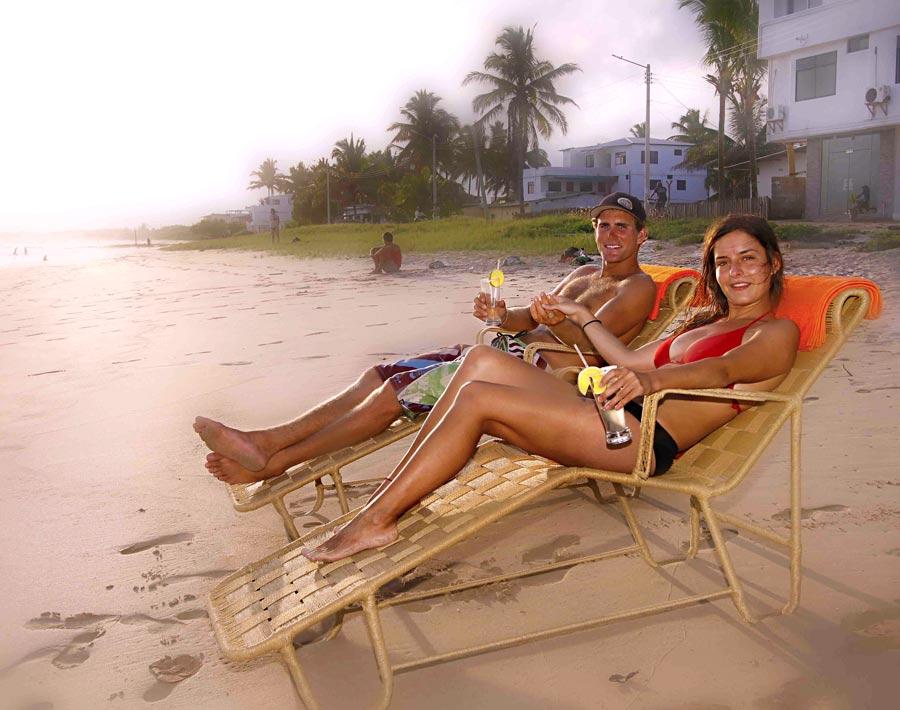 Couple enjoying beach in galapagos