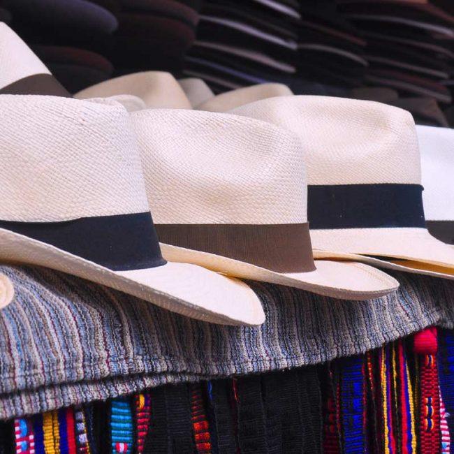 Panama hats in an ecuadorian market