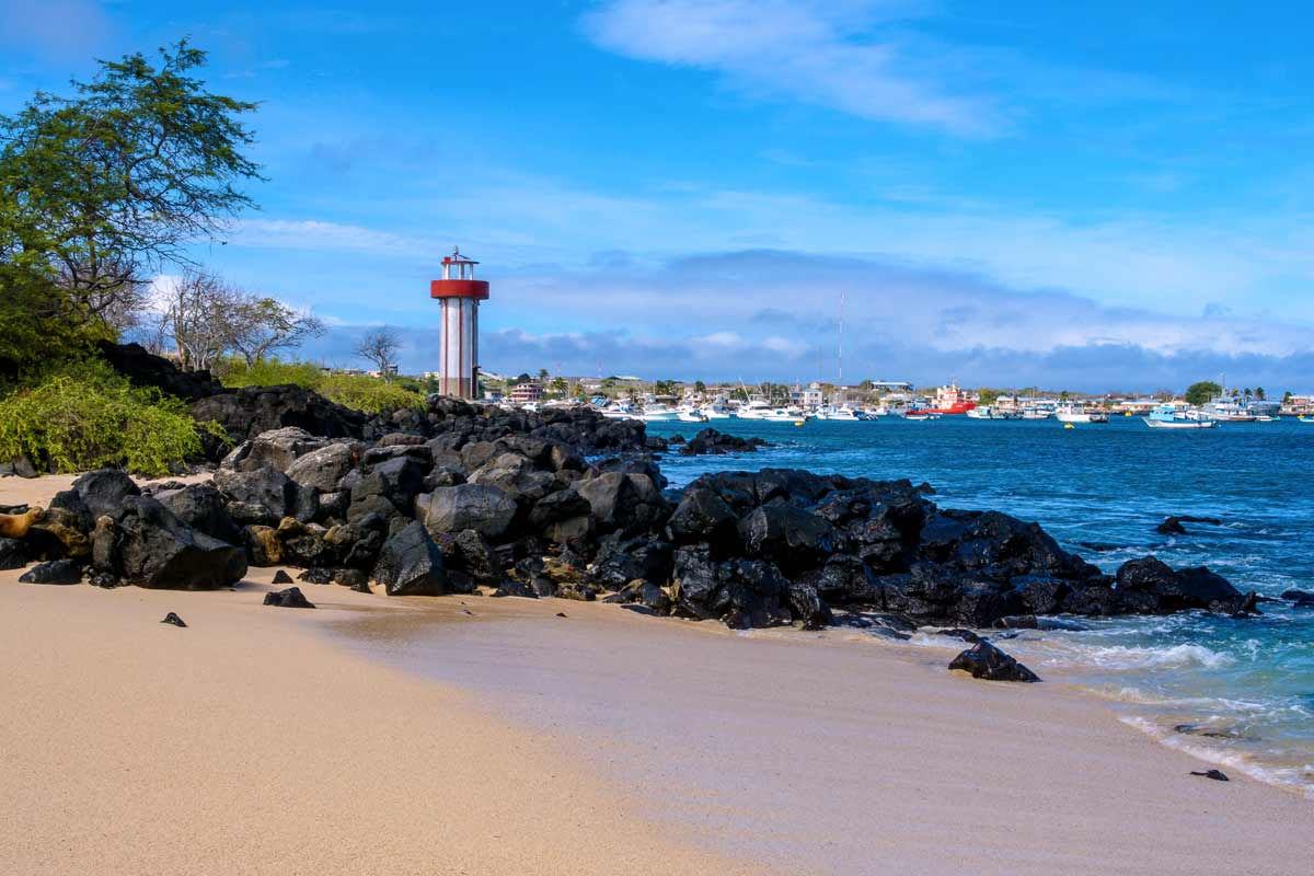 San cristobal in galapagos with lighttower