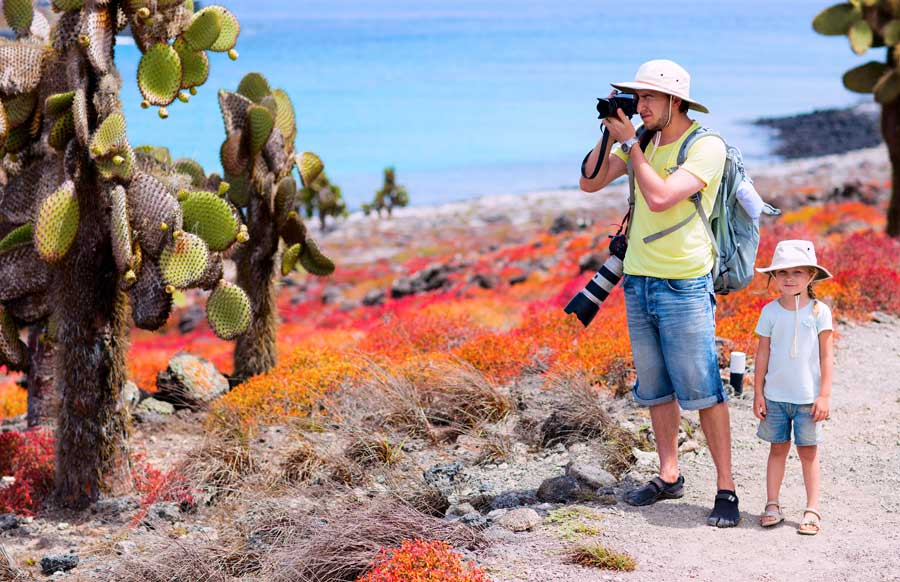 taking pictures in a galapagos tour