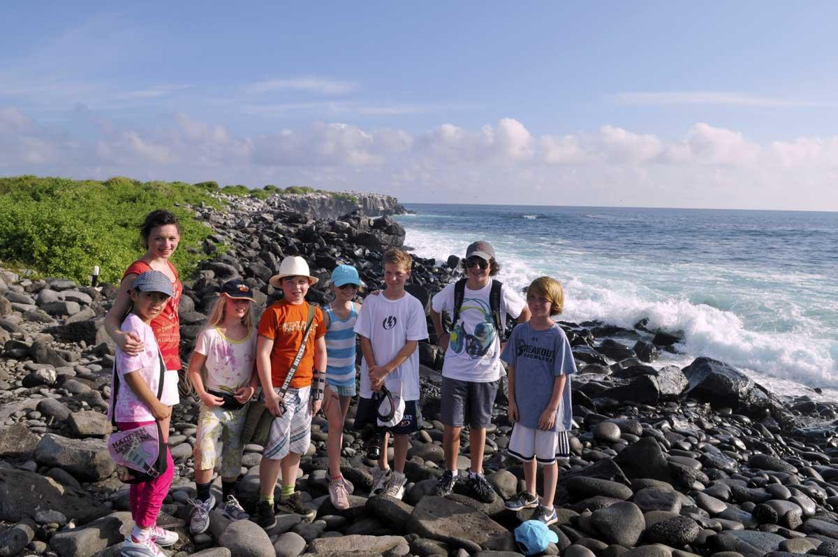 Children touring in galapagos