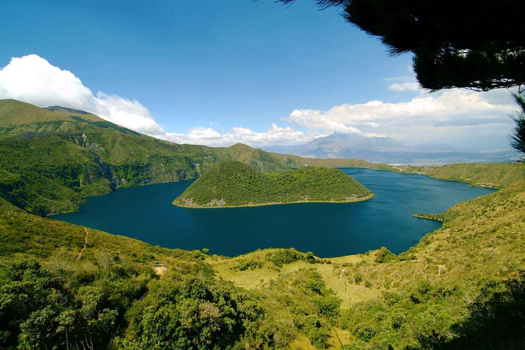 Cuicocha lagoon in the ecuadorian Andes