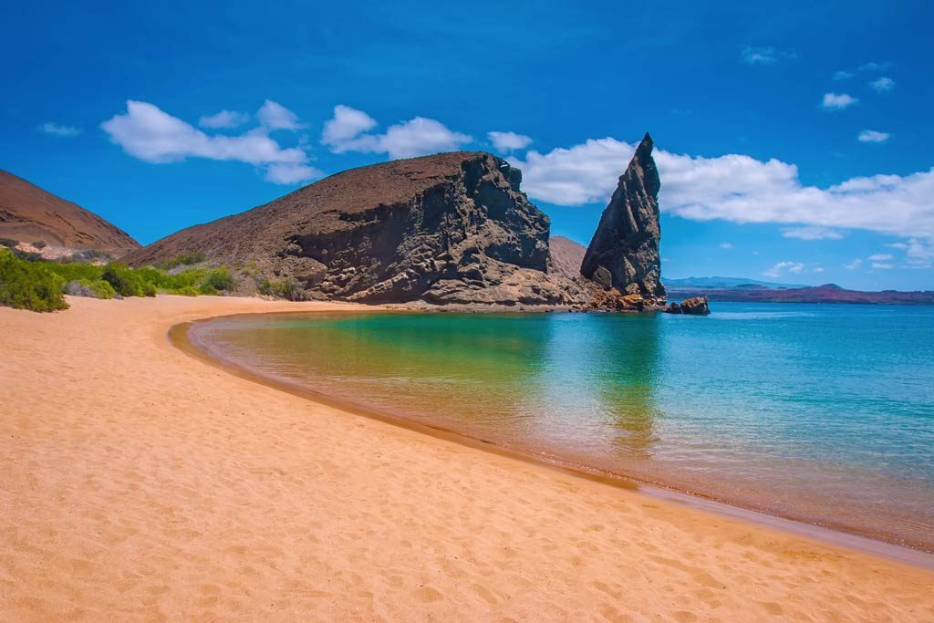 Beautiful beach in bartolome islands in galapagos