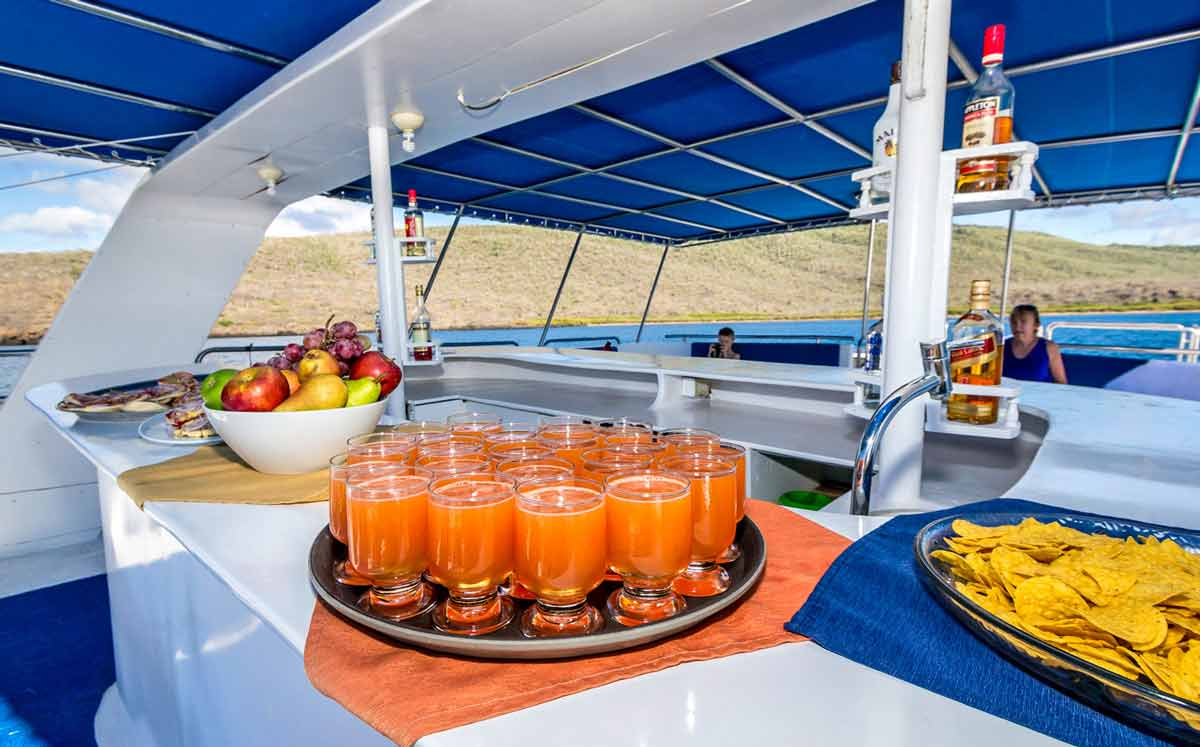 snacks and drinks served in monserrat cruise ship