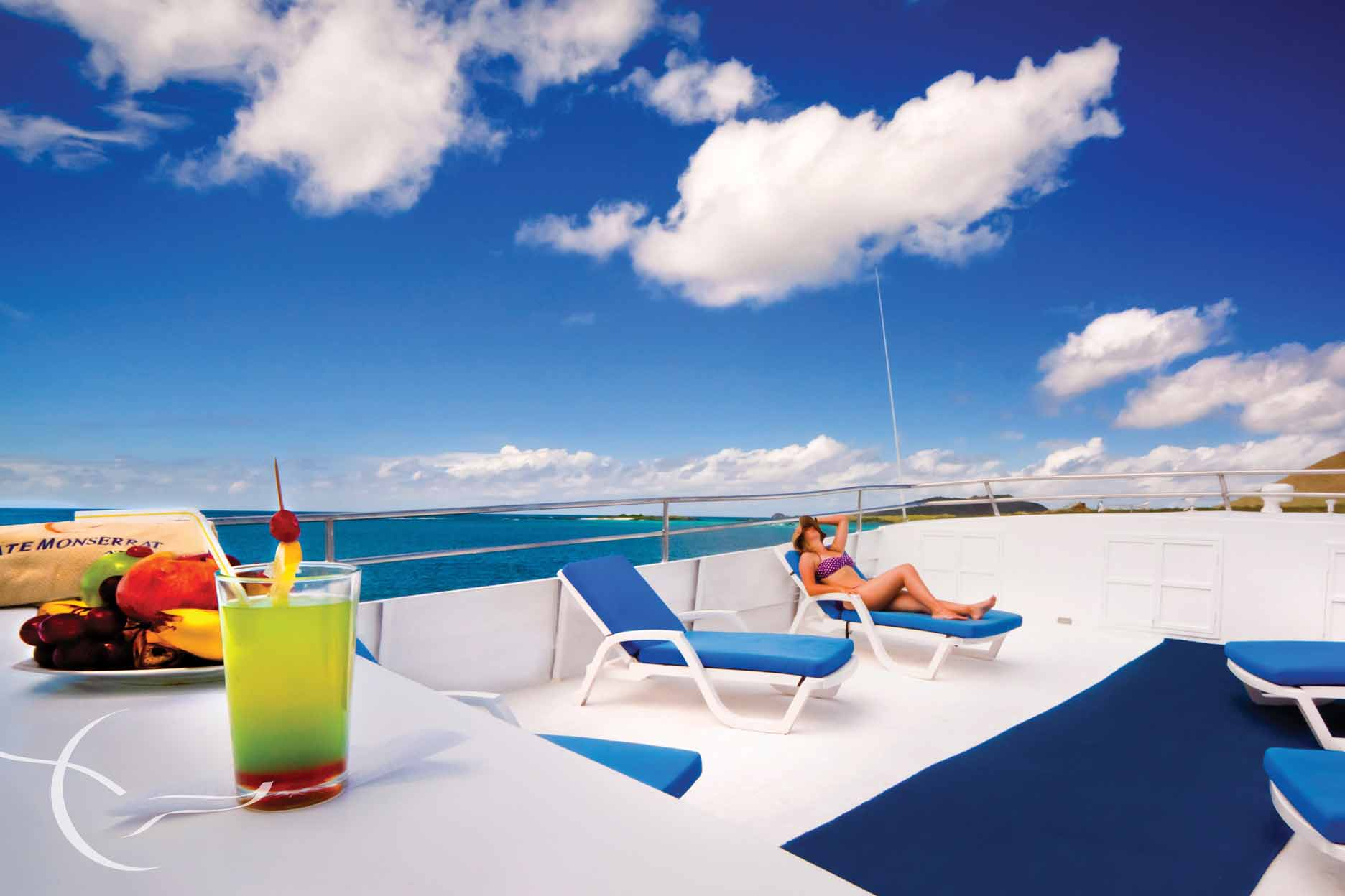 Sun deck in monserrat cruise ship galapagos