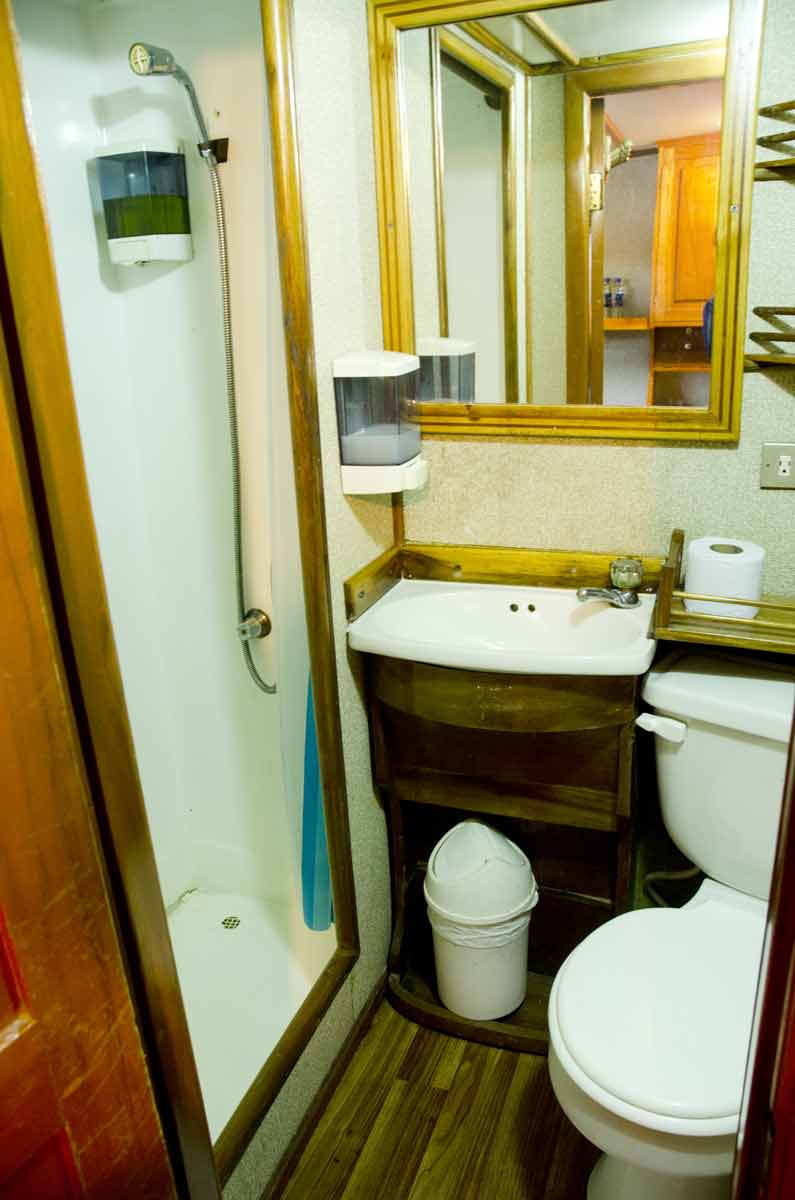 small bathroom at cruise in galapagos
